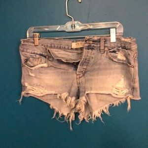 Free people destroyed jean shorts